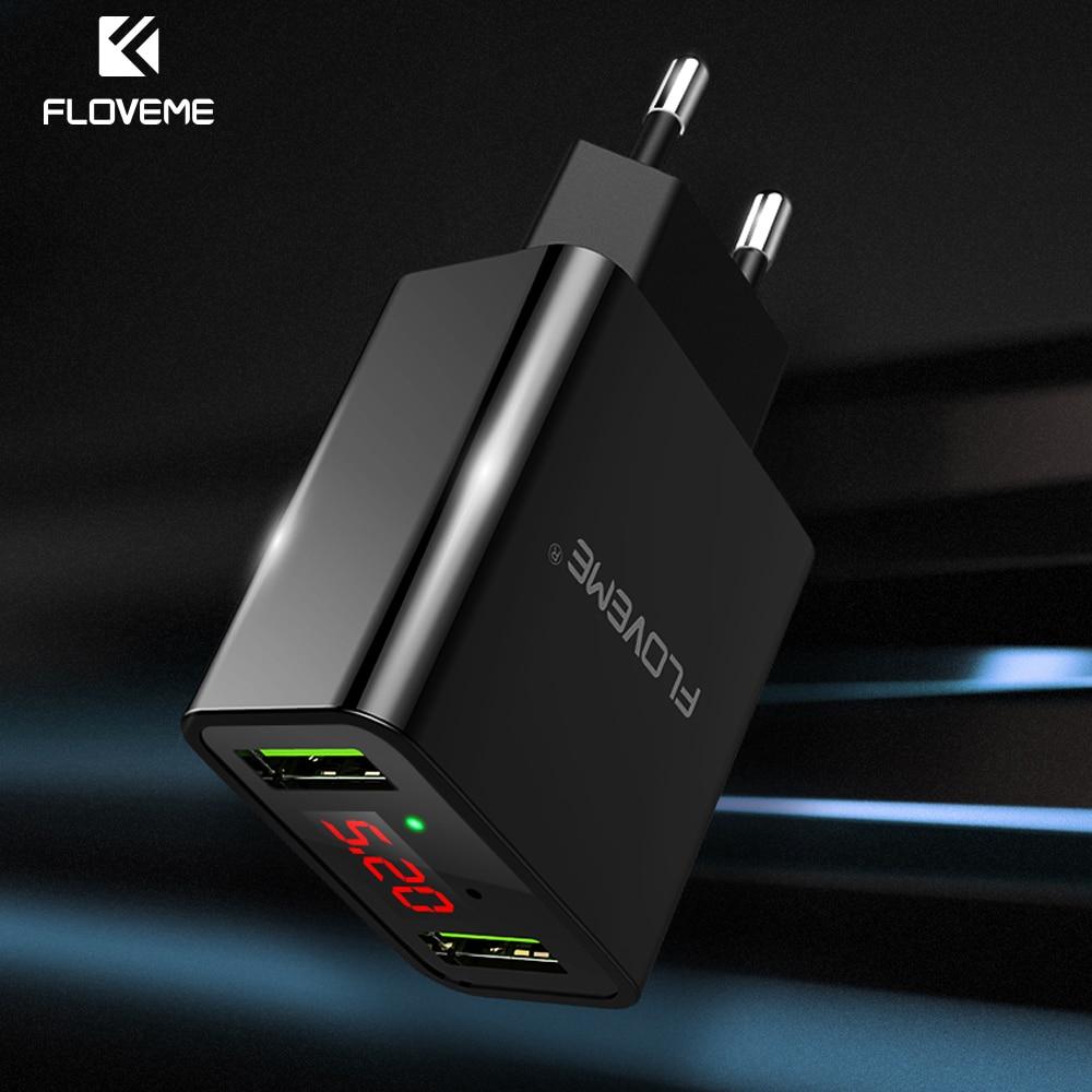 Floveme LED 2 puertos USB cargador para iphone samsung xiaomi IPad UE enchufe pared cargador USB adaptador