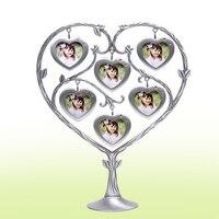 Nueva Llegada Regalos Creativos Familia felicidad árbol de cristal Marco de Fotos de metal moda bebé marco de fotos de BRICOLAJE accesorios de decoración del hogar