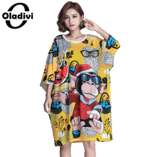 Oladivi Plus Size Women Clothing Fashion Animal Printed Casual Dress Loose Style Female Tops Tees Shirt Tunics Dresses Vestidos