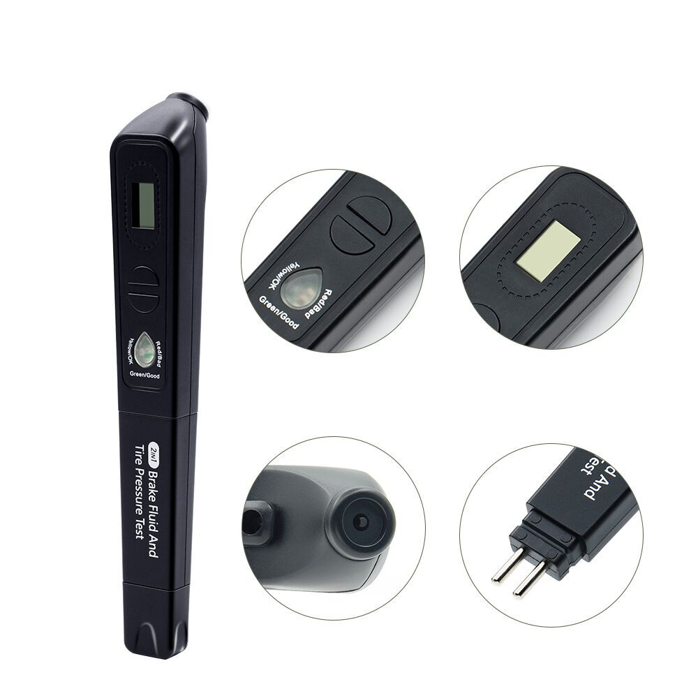 2 in 1 Electrical Testers digital display brake fluid tester pen and car tire pressure gauge meter Brake Liquid diagnostic tool 3