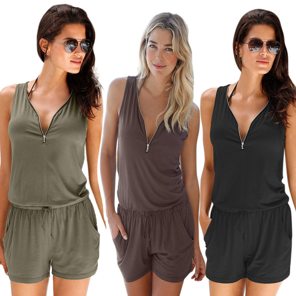 Womens Summer Casual Zipper Mini Playsuit Ladies Plus Size Bodysuit Beach Rompers Zippered V-Neck Solid Color   Jumpsuit   Holiday