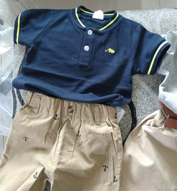 Boys Clothes 2018 Hot Summer Novelty Cotton Cartoon Elephant Print Short Sleeve V Mandarin Collar Handsome T Shirt Kids Boys