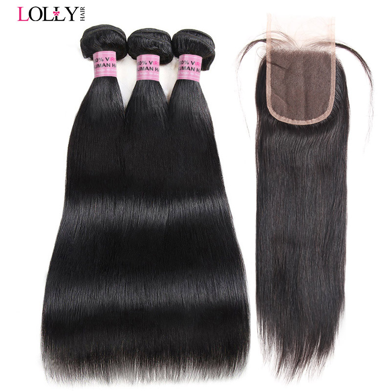 Malaysian Straight Hair Bundles with Closure Remy Human Hair Bundles with Lace Closure Lolly Human Hair