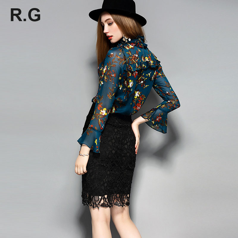 RG Fashion Floral Print Skirts Suit Blue Crop Tops Blouse and Black Lace Skirt Women 2Piece Set Suits Costumes for Women