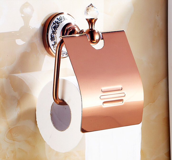 Rose gold color crystal deco roll toilet paper holer wall for Decoration murale rose gold