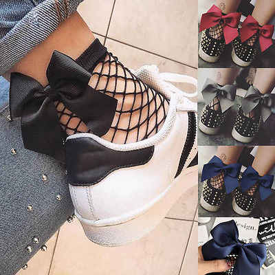 Fashion Women Bowknot Big Fishnet Ankle High Stockings Mesh Lace Fish Net Women Accessories