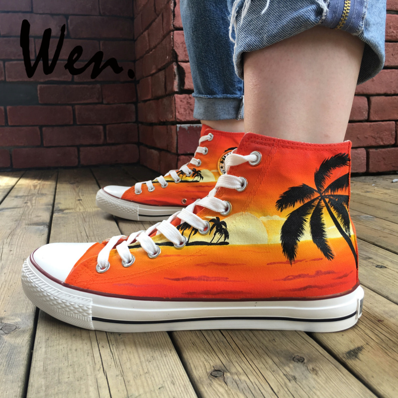 Wen Original Design Custom Hand Painted Canvas Shoes Hawaii Coconut Palm Tree Sunset High Top Sneakers Unisex Special Gifts