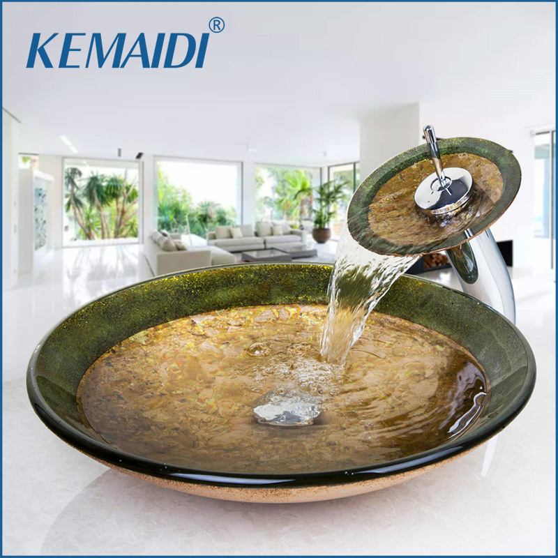 KEMAIDI Countertop Basin Sinks Bathroom Victory Vessel Washbasin Tempered Glass Sink With Chrome Waterfall Faucet Sets countertop sink painting round bathroom faucet art washbasin tempered glass vessel sink with brass faucet sets