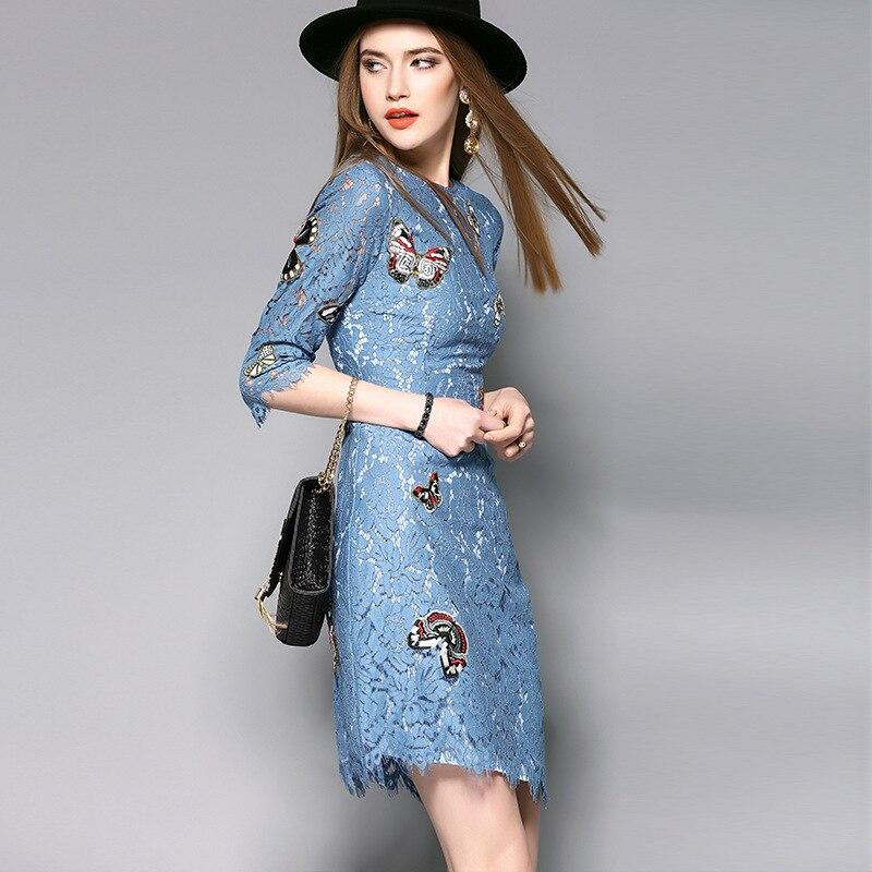 Yjz019 Blue Demi Haute Broderie Robe Manches Vintage Femmes Mode Slim Style D'été Dentelle 2018 De Qualité Européen Robes axqFwHFOT