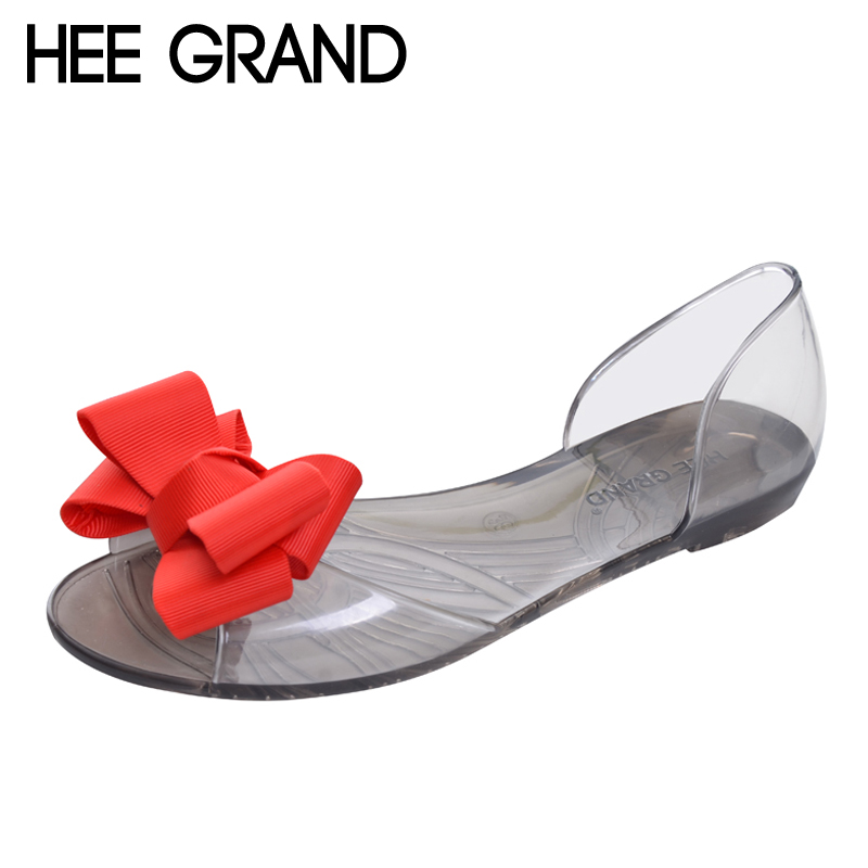HEE GRAND 2017 New Women Jelly Sandals Sweet Bowtie Flat Shoes Woman Slip On Summer Jelly Shoes 4 Colors Size 35-40 XWZ3710 siketu sweet bowknot flat shoes soft bottom casual shallow mouth purple pink suede flats slip on loafers for women size 35 40