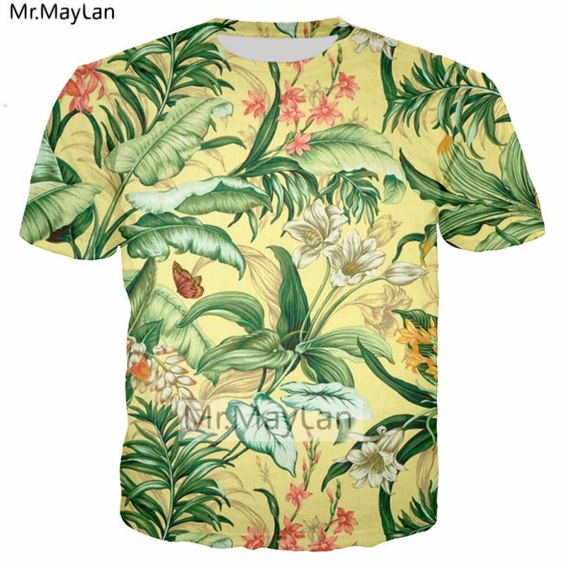 Palm Leaves Thrush Bird Flowers 3D Print Tshirt Women men Hiphop Hipster T shirt Boys Modis T shirt Man Black Clothes Harajuku in T Shirts from Men 39 s Clothing