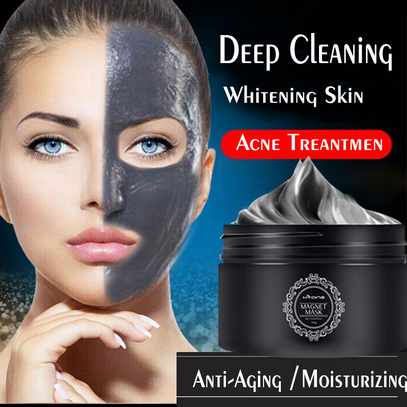 100g Mineral Magnetic Face Mask Pore Cleansing Facial Beauty Shrink Pores Whitening Firming Moisturizing Blackhead Removal Mask
