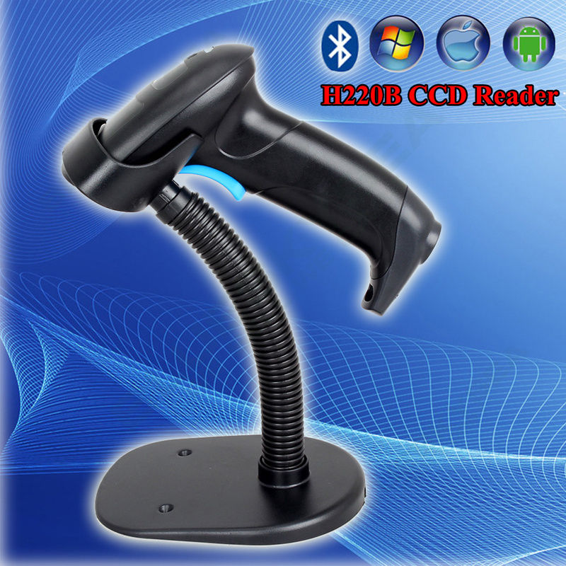 H220B CCD Bluetooth Wireless 1D Barcode Scanner USB Screen Scanner W/holder IOS Android Mobile Scanner Bar Code 1D CCD Scanner