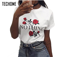 2017 Summer Nothing Letter Print T Shirt Rose Harajuku T Shirt Women Casual Short Sleeve TShirt