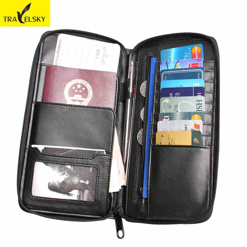 2PCS/SET Free Shipping Women Leather Wallet RFID Bussiness Passport Holder Men Travel Wallets Functional Card Holder Purse Black