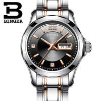 Luxury Japan Automatic Mechanical Movement BINGER Women Rose gold Watch Ladies Black Dial Sapphire Crystal relogio feminino