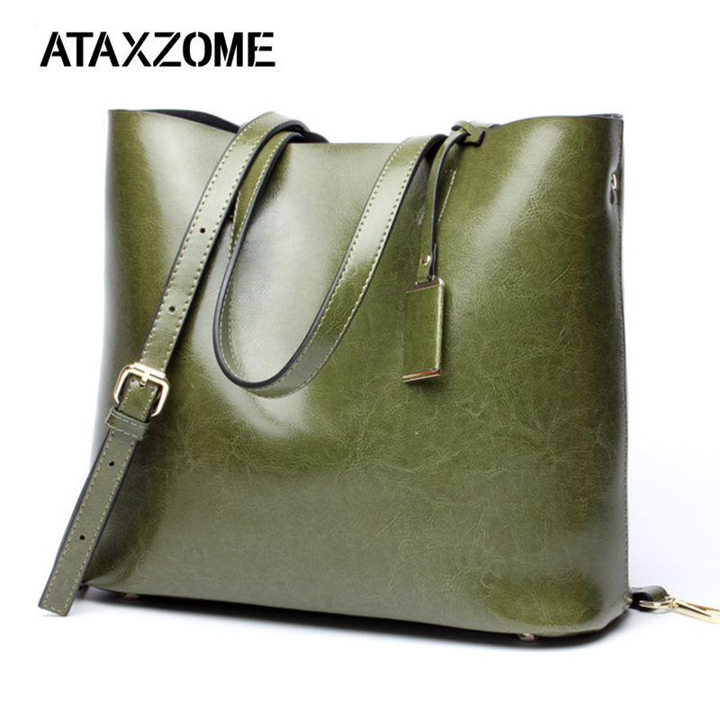 ATAXZOME 100% en cuir véritable femmes sacs à main 2019 nouveau bandoulière femme grand sac épaule Composite sac à main Messenger bolsos