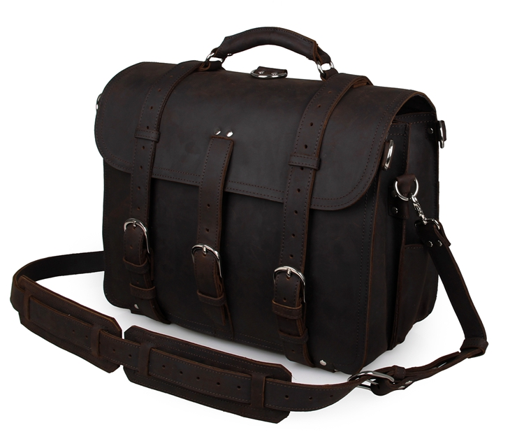 High Quality Crazy Horse Leather Dark Brown Men Messenger Bag Travel Bags 5Pcs/Lot #7072R-2