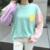 Outono Vento Colégio irmã macio Coreano cores misturadas cor hit bolso soltas em torno do pescoço longo-sleeved T-shirt das mulheres