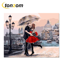 RIHE Kissing Lover Diy Painting By Numbers Venice Dock Oil Cuadros Decoracion Acrylic Paint On Canvas Modern Wall Art
