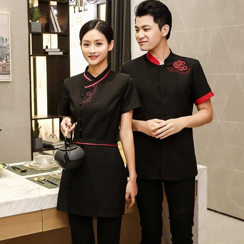 Chinese Hotel Waiter Workwear Men's Women's Short sleeved Plus Size Hotel Uniform Dining Restaurant Hot Pot Shop Jacket H2164