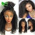 7А полный шнурок человеческих волос парики дешевые glueless монгольский странный вьющиеся волос парики для чернокожих женщин короткие парики человеческих волос отбеленные узлы