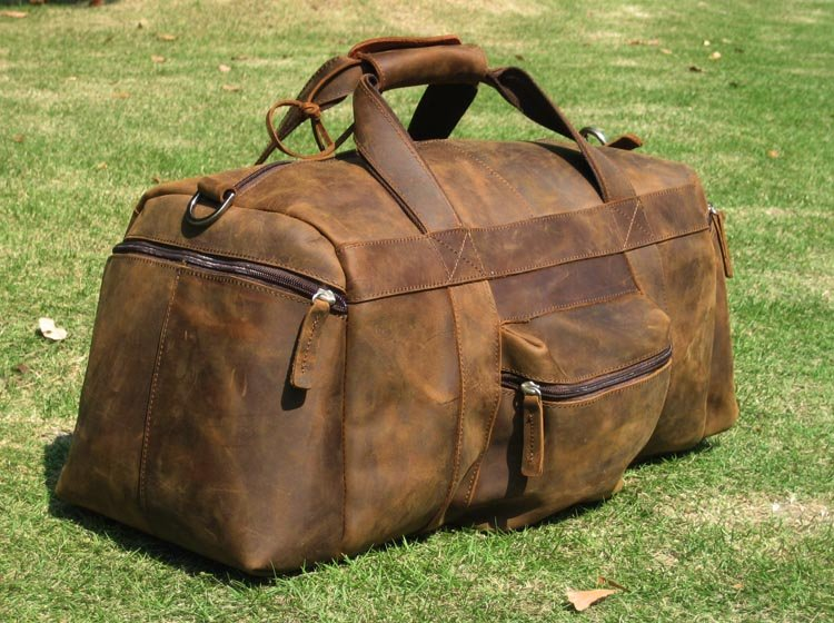 Vintage Full Grain Leather Men's Women's Travel bag Luggag Duffle ...