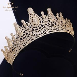 Image 3 - למעלה איכות מדהימה מלא זירקון חתונת Hairbands מתנות עבור כלות מצופה קריסטל מצנפות כתרים זהב חתונה שיער אבזרים