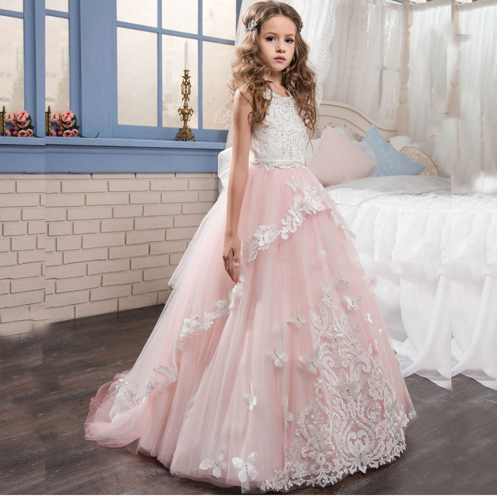 Beautiful Sleeveless Lace Beading Flower Girl Dress Keyhole Back Pink Tulle Kids Ball Gowns Floor Length Girl Communion Gowns gorgeous lace beading sequins sleeveless flower girl dress champagne lace up keyhole back kids tulle pageant ball gowns for prom