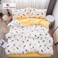 SlowDream Pineapple Bedding Set Nordic Comforter Bedspread Double Bed Sheet Set Duvet Cover Queen King Adult Bed Linens Set