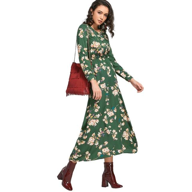 902e4444793a Wipalo Autumn Floral Print Long Dress Women Bohemian Long Sleeve Buttons  Tiny Boho Maxi Dresses Tunic