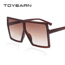 TOYEARN Big Frame Fashion Brand Designer Oversize Square Sunglasses Women Flat T