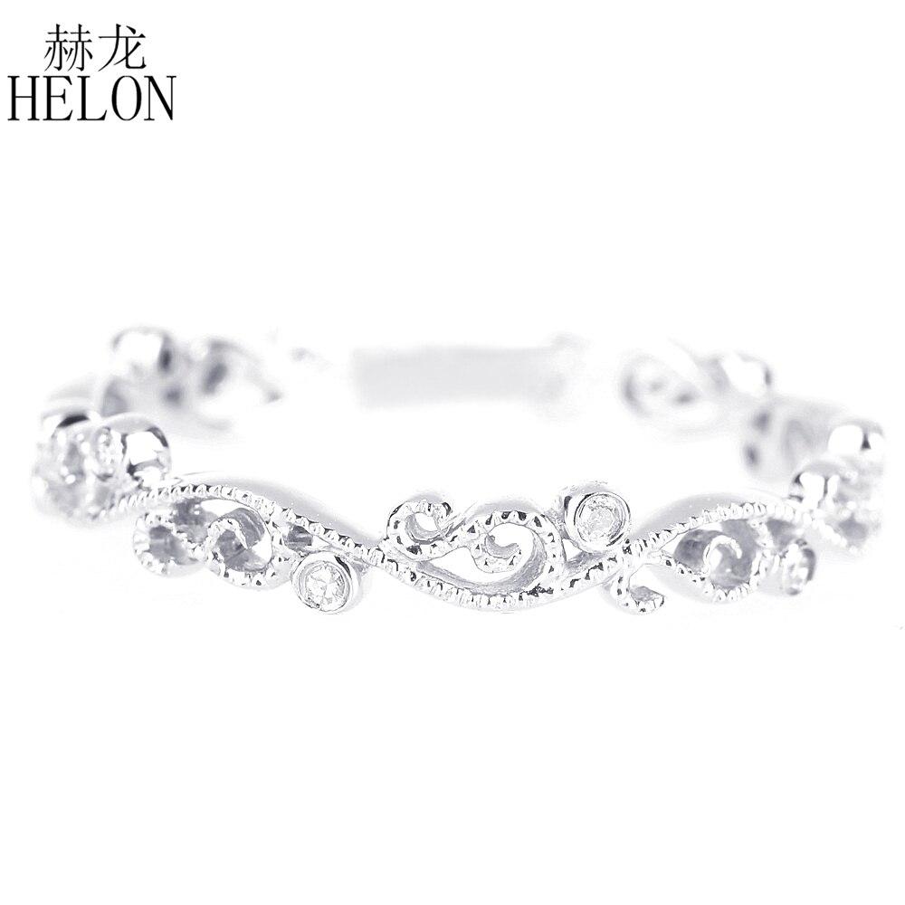 HELON Art Nouveau Vintage Antique sterling Silver 925 0.05ct Certified Round Real Diamonds Ring Wedding Women Fine Jewelry Ring цена в Москве и Питере