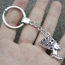 New Vintage Men Jewelry Keychain Diy Metal Holder Chain Woman Head 39x20mm Antique Silver Pendant Gift
