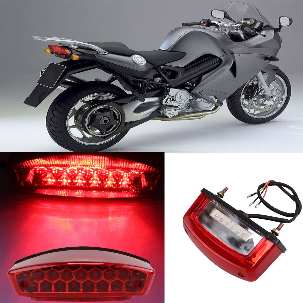 Universal Motorcycle LED Brake Tail Light Turn Signal Blinkers License Plate Lamp 12V LED New Flashers Motorcycle Parts Lighting