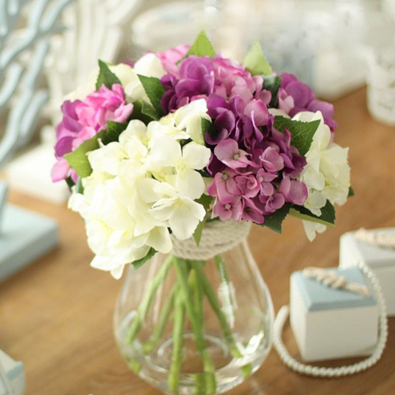1 pc artificial hydrangea silk flowers fake leaf bouquet for Artificial flowers for home decoration online
