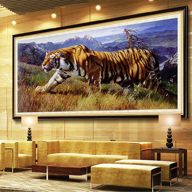 Tigers mountains Art Decor Mosaics Wall Painting DIY Full Round ...