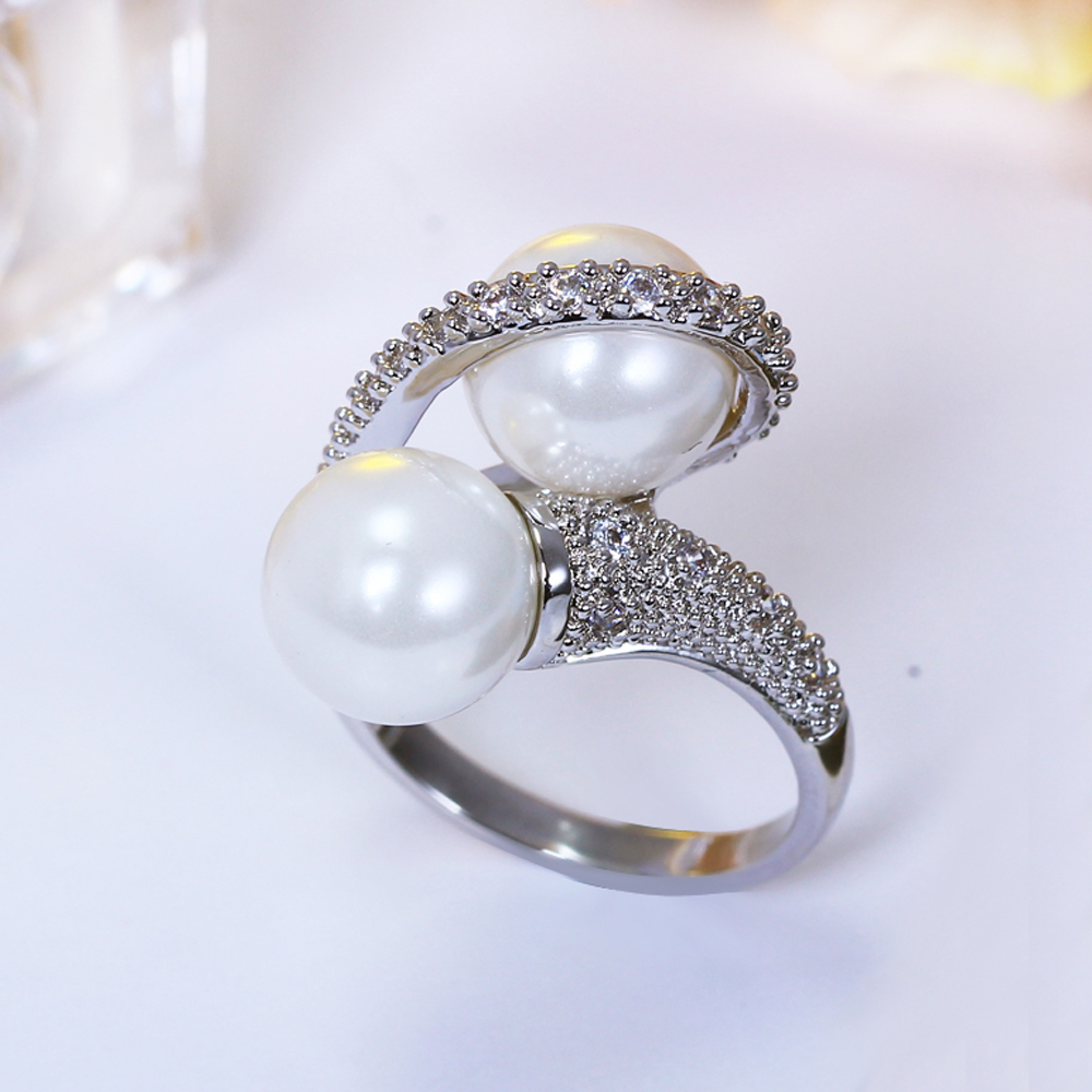 Elegante branco handmade anéis de pérolas para senhoras anel de cristal na moda anel de dedo melhor mulheres presente moda declaração jóias