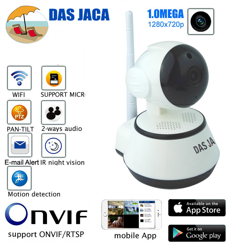 Das Jaca Wireless IP Cam P2P PTZ dome Surveillance Camera wifi 720P HD Infrared Night Home Security network camera baby monitor
