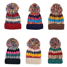 Женская Мода Теплая Зима Шерстяной Пряжи Вязаная Шапка Смешанный Цвет Лыжи Шляпа