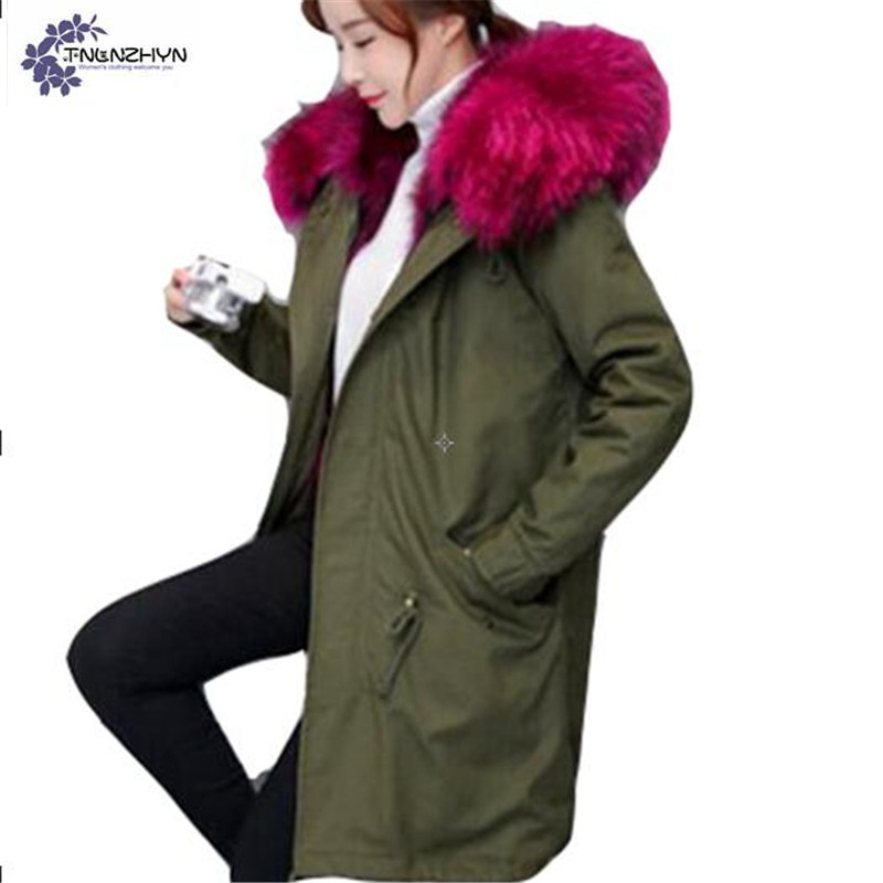 TNLNZHYN 2017 winter new Women clothing Army green Cotton coat fashion large size thickening keep warm female Cotton coat QQ123