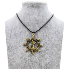 New Brand Vintage Mens Anchor Necklace Alloy for Men Rope Rudder Silver Gold Necklaces Gift