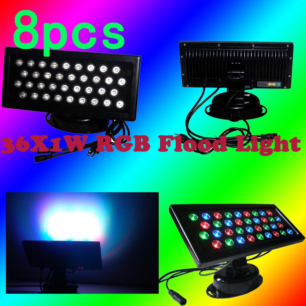 8pcs 36X1W RGB LED Wall Wash Flood Light Stage DJ Party Holiday Lighting