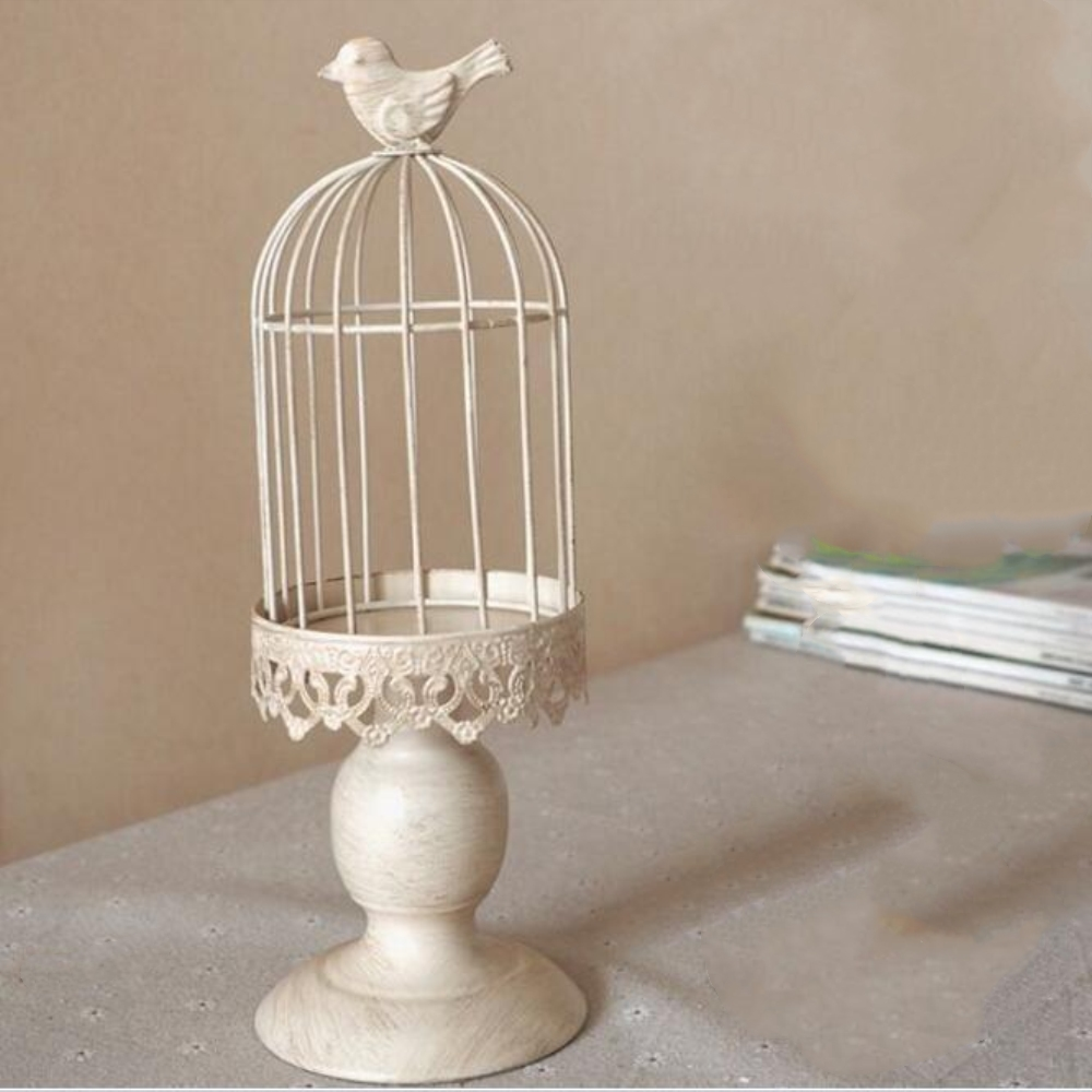 Fashion creative birdcage metal candle holder for home for Creative candle holders