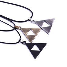thirty 30 seconds to mars necklace triangle triad pendant band logo vintage jewelry leather rope for men and women wholesale