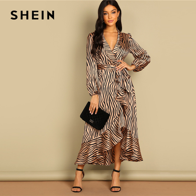 90a2841f10 SHEIN Deep V Neck Shawl Collar Surplice Wrap Flounce Animal Zebra Belted  Fit and Flare Mid
