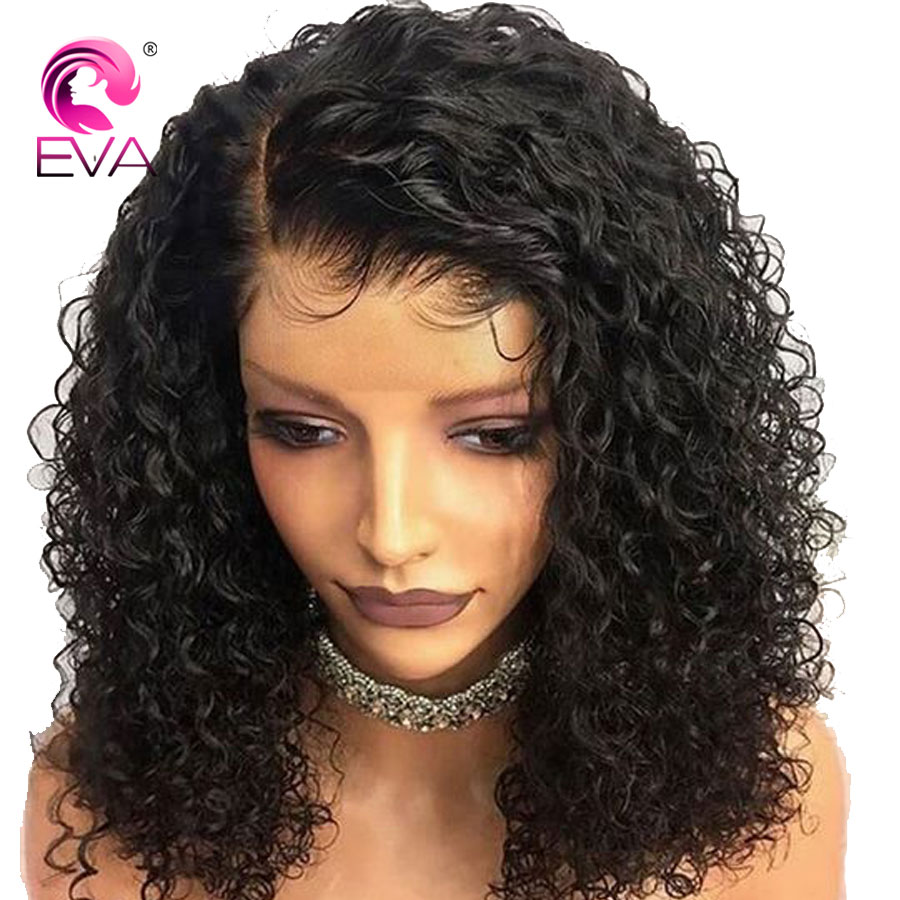 Eva Hair Short Lace Front Human Hair Wigs With Baby Hair Pre Plucked Curly Lace Bob
