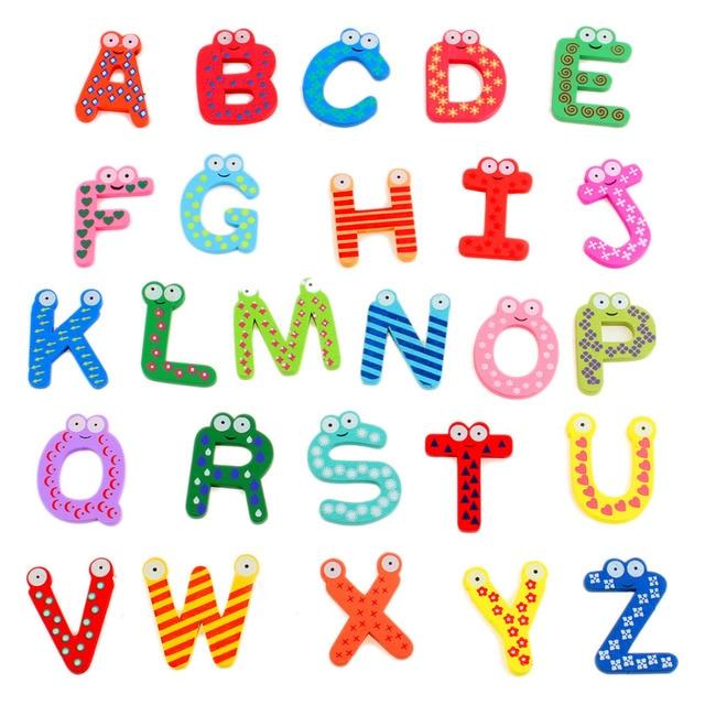 Kids  A Z Letters Magnetic Letters Wooden Alphabet Fridge Magnet Imanes De Nevera Refrigerator Magnets Sticker
