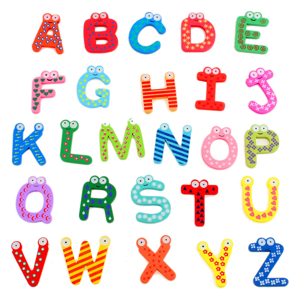 kids 26 a z letters magnetic letters wooden alphabet fridge magnet imanes de nevera refrigerator magnets sticker