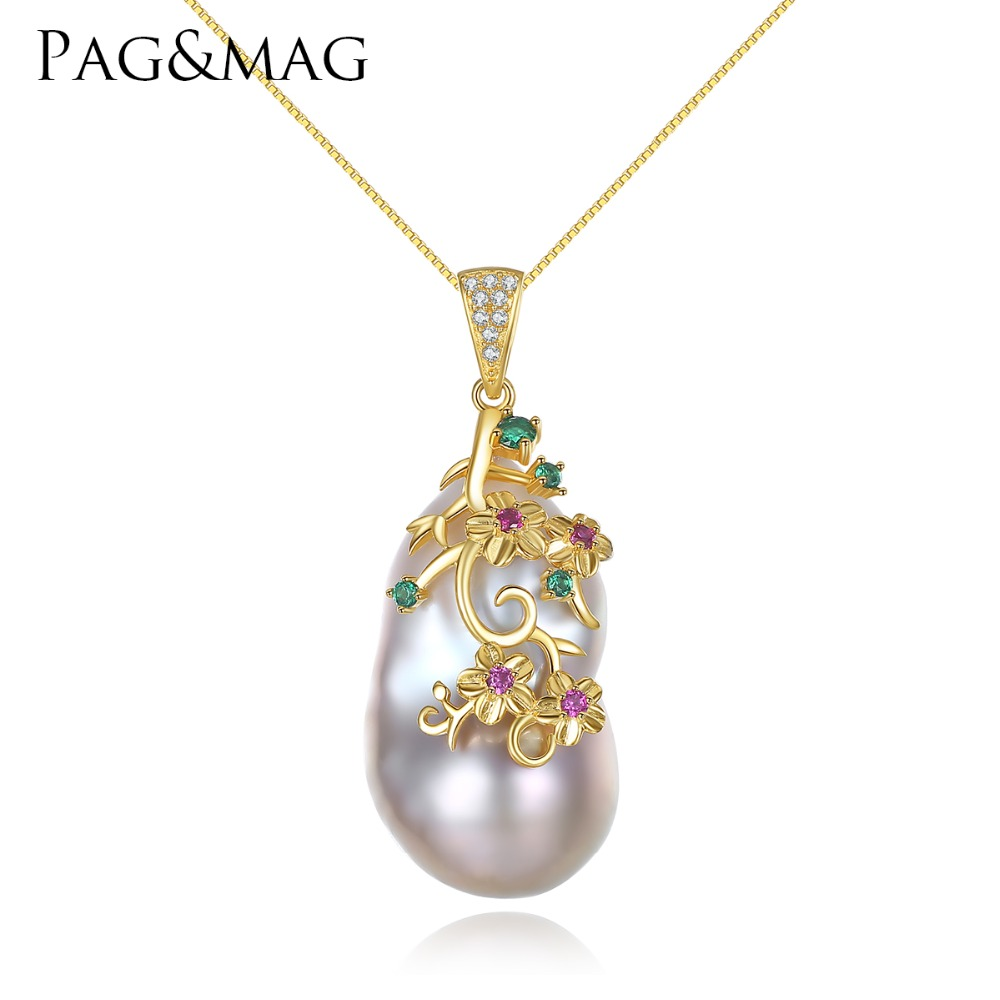 PAG et MAG Marque Spécial en forme de Baroque Grand Naturel Perle Pendentif Femmes Collier Sterling Chaîne En Argent Chaque Perle Différence